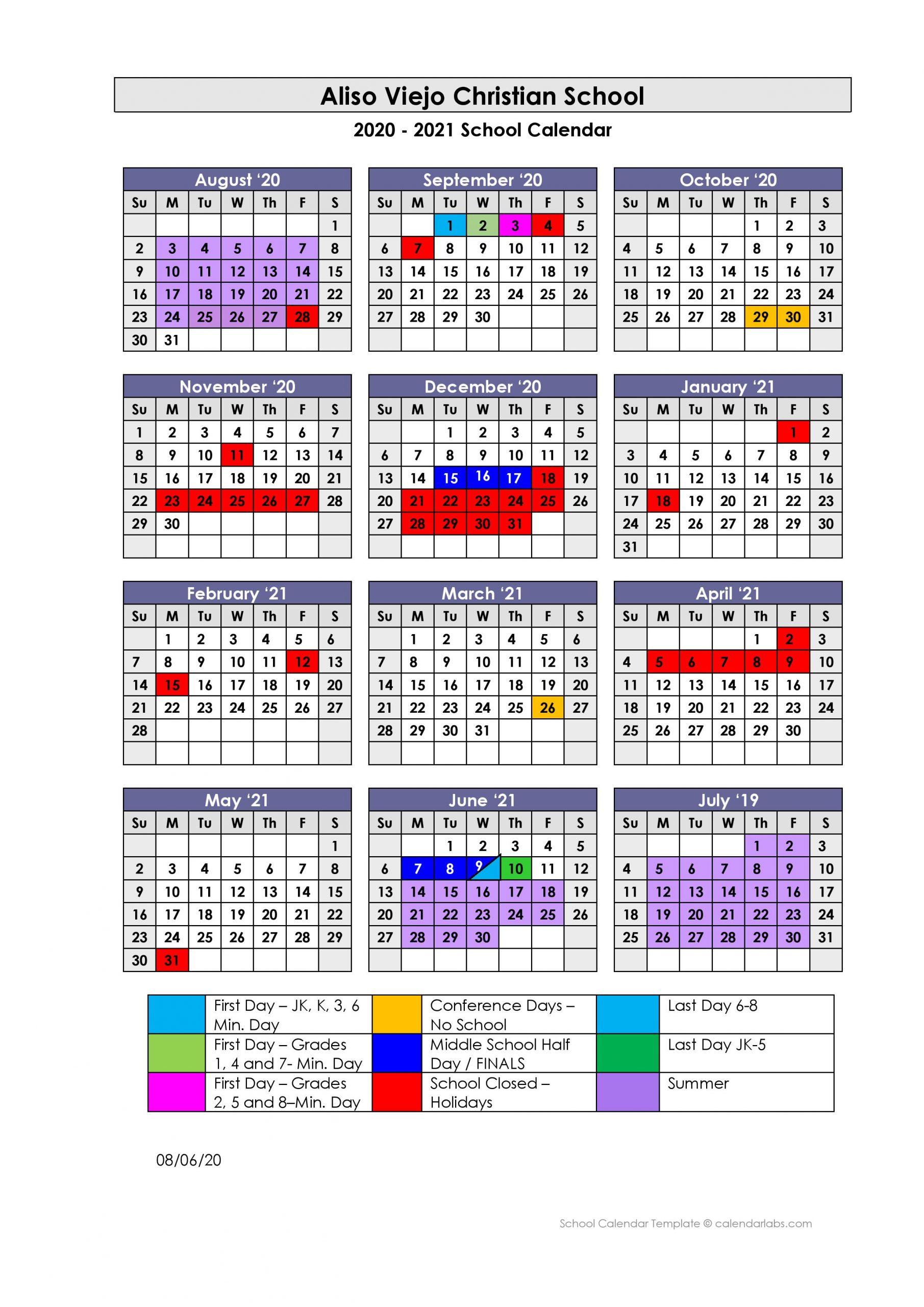 Ucsd School Calendar 2021 2020   2021 SCHOOL CALENDAR   Aliso Viejo Christian School